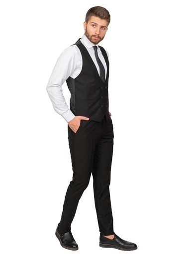 White Stone Maitland Slim Fit 6 Drop Sivri Yaka Yelekli Takım Elbise Siyah Siyah